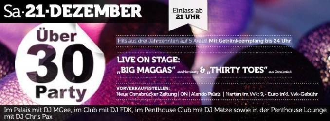 Party - Ü30-Party - ALANDO PALAIS in Osnabrück - 21.12.2013