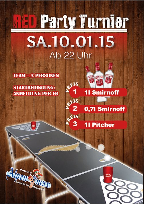 Red Party Beer Pong Turnier
