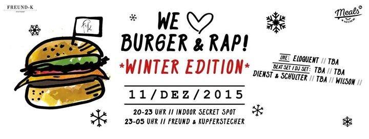 party we love burger rap winter edition indoor secret spot freund kupferstecher. Black Bedroom Furniture Sets. Home Design Ideas
