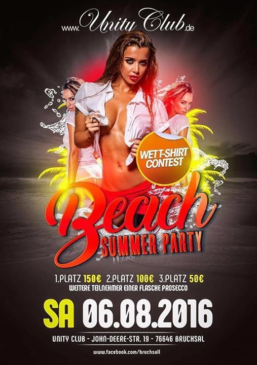 Party Sa 6 Aug Beach Party Wet T Shirt Contest At Unity Club