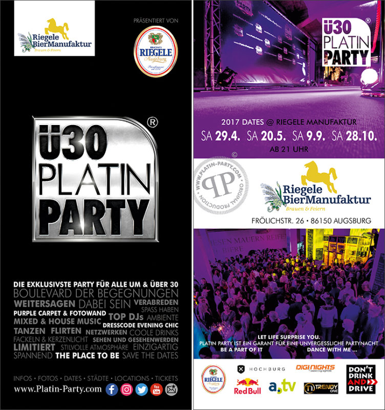 Party - Augsburg. ü30 Platin Party - Riegele Manufaktur in