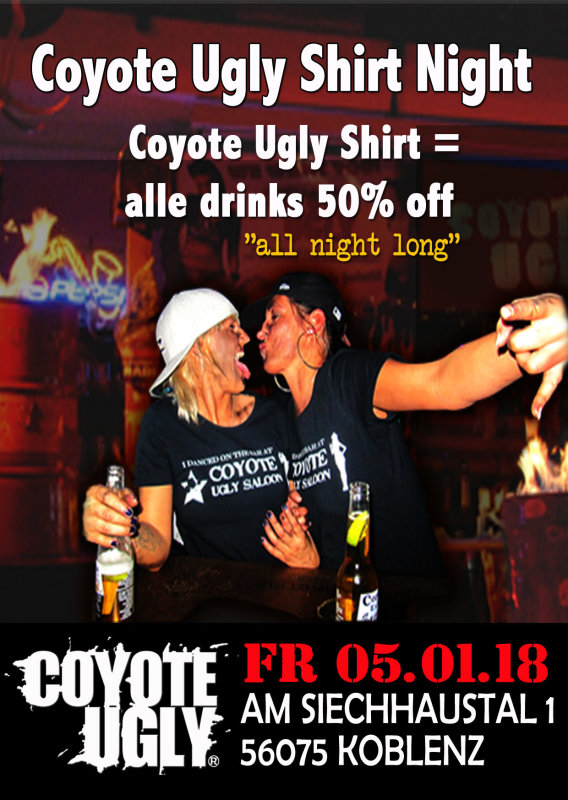 party shirt night vol 10 alle getr nke f r die h lfte coyote ugly im saloon koblenz in. Black Bedroom Furniture Sets. Home Design Ideas