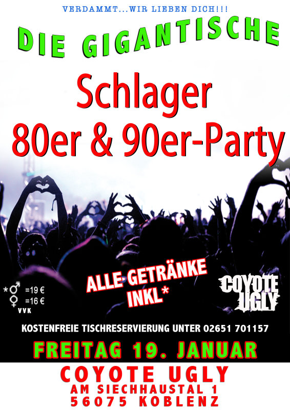 party schlager 80er 90er party alle getr nke inkl im coyote ugly coyote ugly im saloon. Black Bedroom Furniture Sets. Home Design Ideas